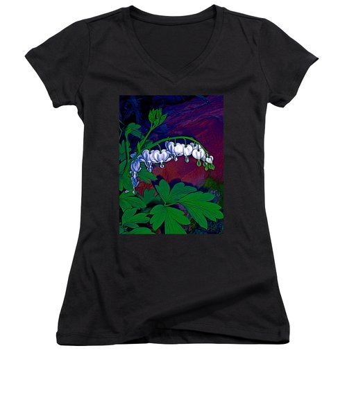 Bleeding Heart 1 Women's V-Neck T-Shirt (Junior Cut) by Pamela Cooper