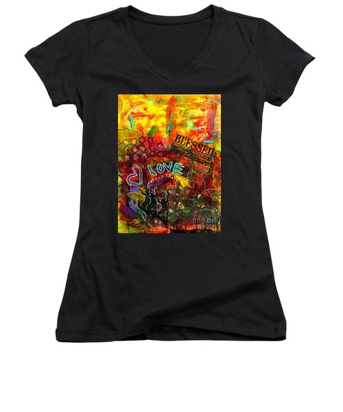 Blessed Beyond Measure Women's V-Neck T-Shirt (Junior Cut) by Angela L Walker