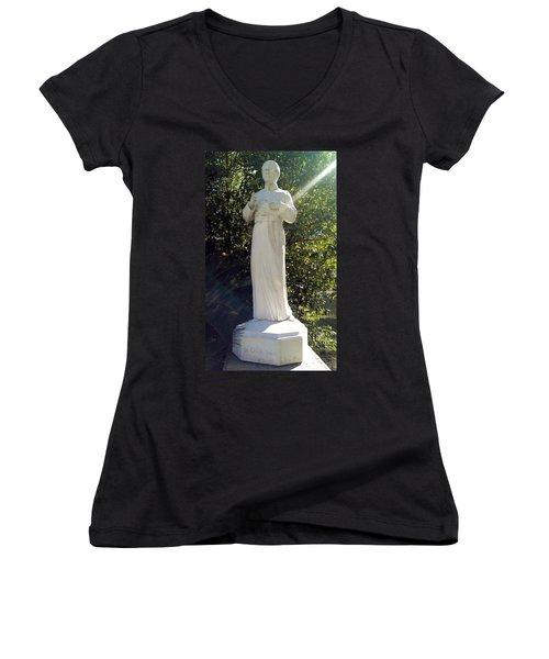 Blessed Francis Xavier Seelos C.ss.r. - New Orleans La  Women's V-Neck T-Shirt (Junior Cut) by Deborah Lacoste