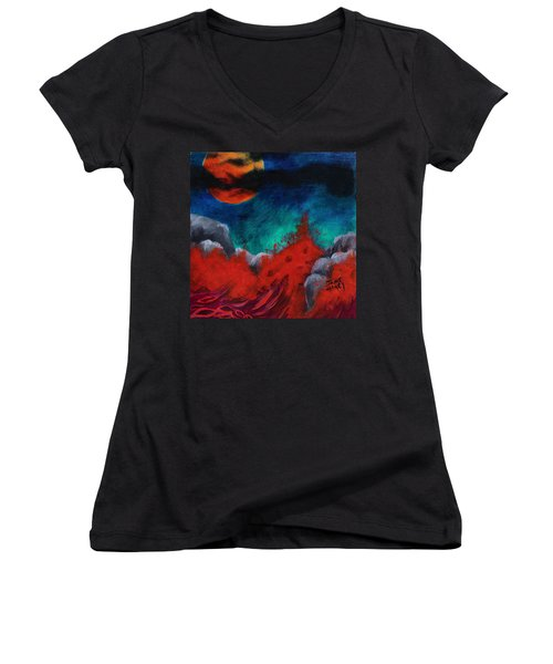 Blood Moon Women's V-Neck T-Shirt
