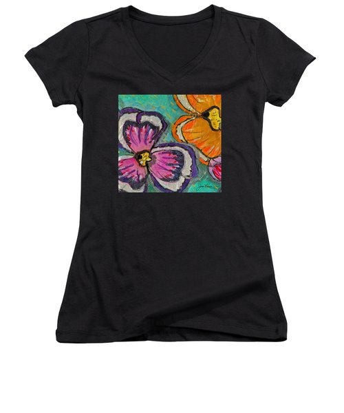 Women's V-Neck T-Shirt (Junior Cut) featuring the painting Blooming Flowers by Joan Reese
