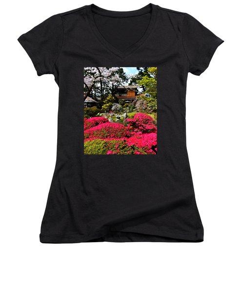 Blooming Gardens 2 Women's V-Neck T-Shirt (Junior Cut) by Holly Blunkall