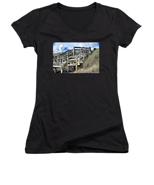 Blowing Rocks Women's V-Neck T-Shirt (Junior Cut) by Bill Howard