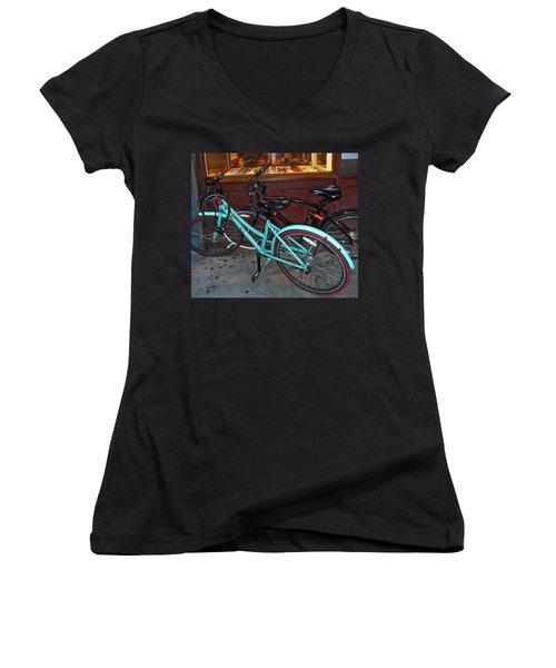 Women's V-Neck T-Shirt (Junior Cut) featuring the photograph Blue Bianchi Bike by Joan Reese