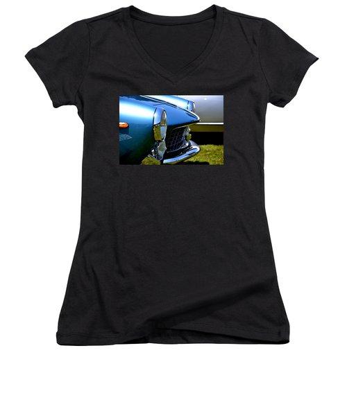 Women's V-Neck T-Shirt (Junior Cut) featuring the photograph Blue Car by Dean Ferreira