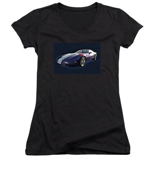 Blue Corvette Car Women's V-Neck