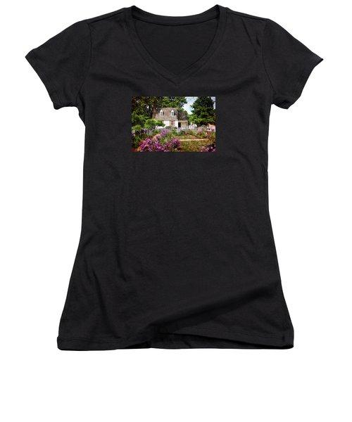 Blue Cottage Women's V-Neck T-Shirt (Junior Cut) by Shari Nees