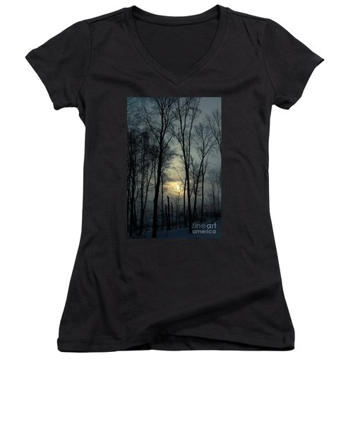 Blue Daybreak Women's V-Neck T-Shirt (Junior Cut) by Karol Livote