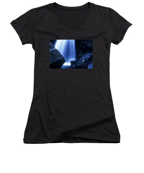 Women's V-Neck T-Shirt (Junior Cut) featuring the photograph Blue Falls by Rodney Lee Williams