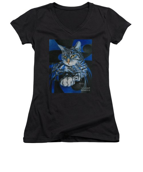 Women's V-Neck T-Shirt (Junior Cut) featuring the painting Blue Feline Geometry by Pamela Clements