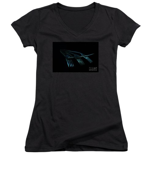Women's V-Neck T-Shirt (Junior Cut) featuring the photograph Blue Forks by Randi Grace Nilsberg