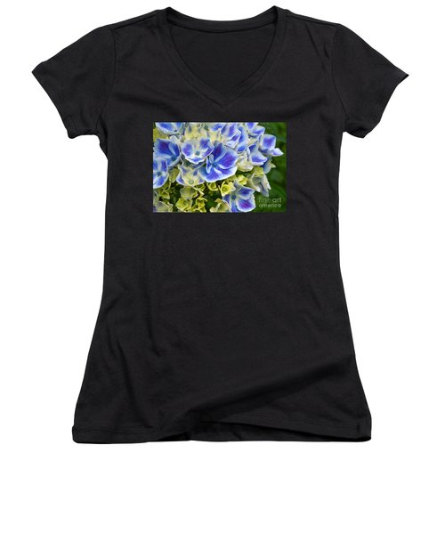 Blue Harlequin Hydrandea Flower Women's V-Neck T-Shirt (Junior Cut) by Valerie Garner
