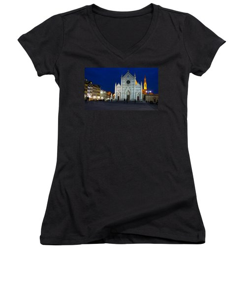 Blue Hour - Santa Croce Church Florence Italy Women's V-Neck
