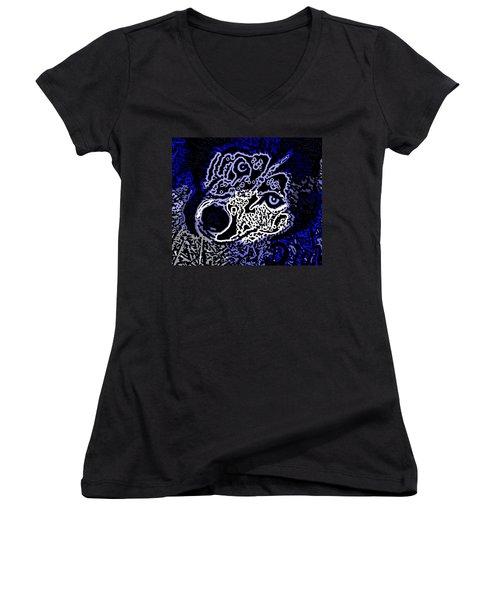 Blue Husky Women's V-Neck T-Shirt (Junior Cut) by Kevin Caudill