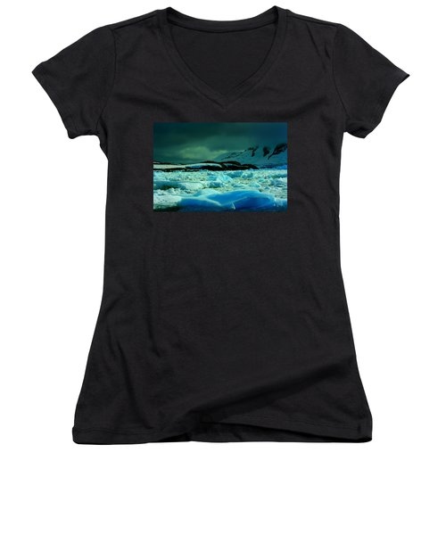 Women's V-Neck T-Shirt (Junior Cut) featuring the photograph Blue Ice Flow by Amanda Stadther
