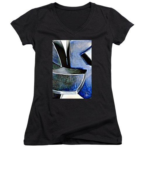 Blue Iron Women's V-Neck T-Shirt (Junior Cut) by Joan Reese