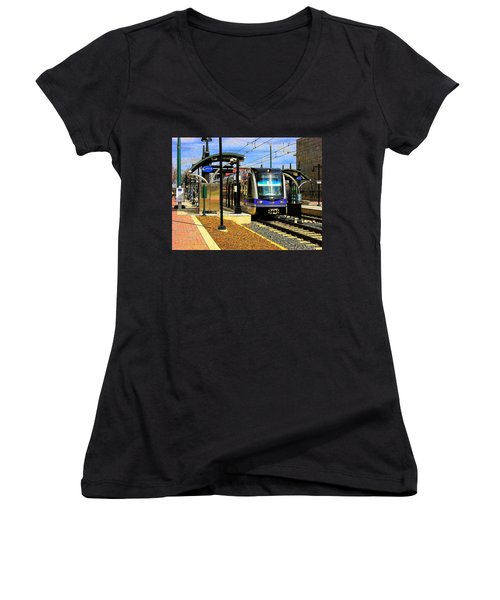 Women's V-Neck T-Shirt (Junior Cut) featuring the photograph Blue Line by Rodney Lee Williams