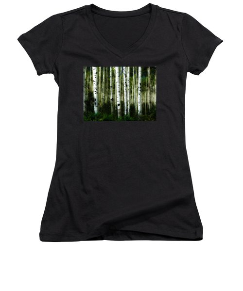 Blue Mood Aspens I Women's V-Neck T-Shirt (Junior Cut) by Lanita Williams