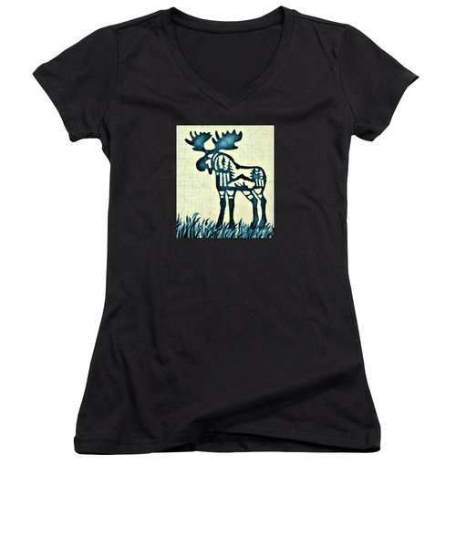 Blue Moose Women's V-Neck T-Shirt (Junior Cut) by Larry Campbell