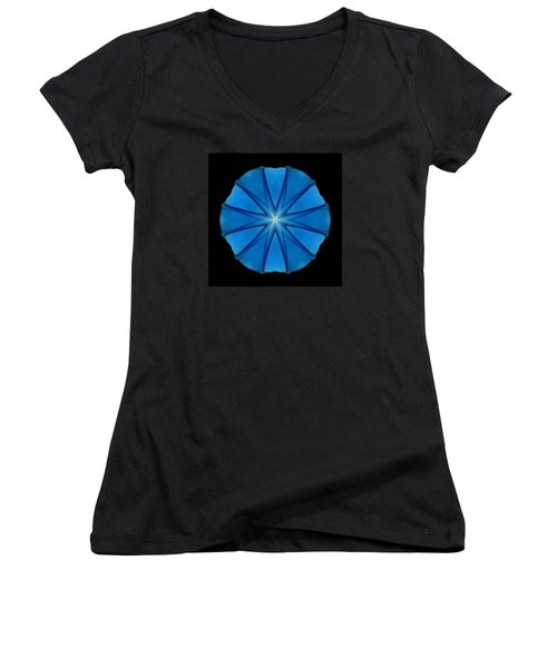 Women's V-Neck T-Shirt (Junior Cut) featuring the photograph Blue Morning Glory Flower Mandala by David J Bookbinder