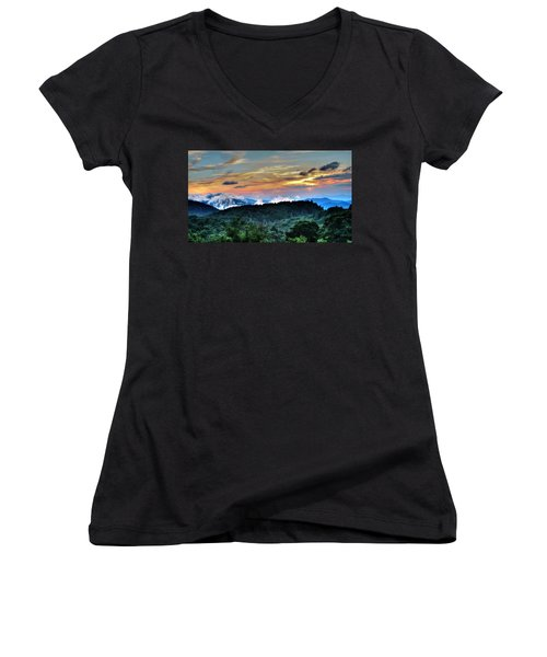 Blue Ridge Mountain Sunrise  Women's V-Neck