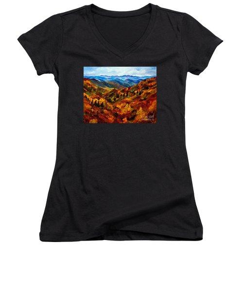Blue Ridge Mountains In Fall II Women's V-Neck T-Shirt