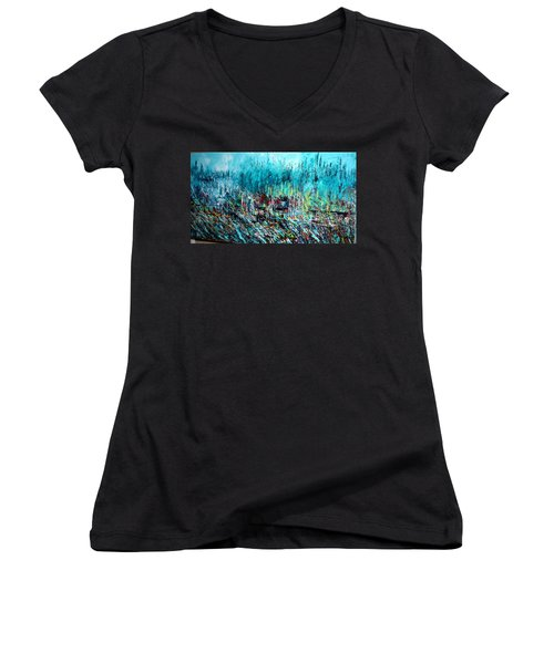 Blue Skies Chicago - Sold Women's V-Neck T-Shirt (Junior Cut) by George Riney