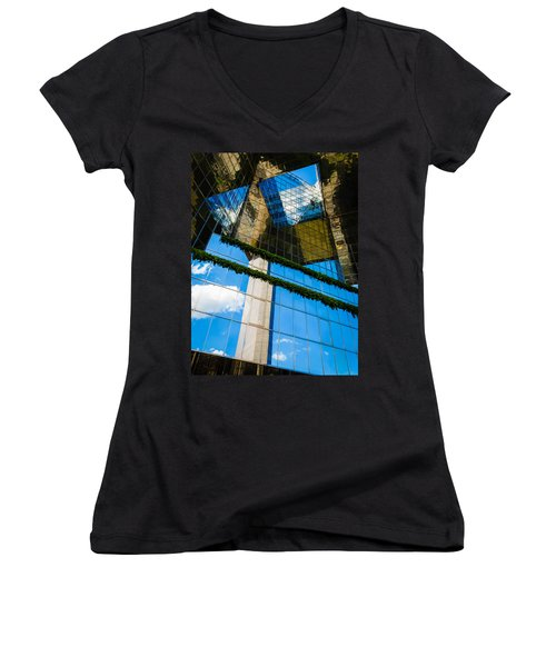 Women's V-Neck T-Shirt (Junior Cut) featuring the photograph Blue Sky Reflections On A London Skyscraper by Peta Thames