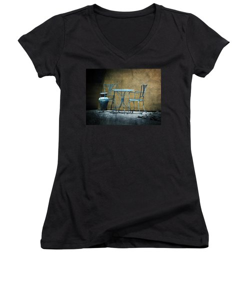 Women's V-Neck T-Shirt (Junior Cut) featuring the photograph Blue Table And Chairs by Lucinda Walter