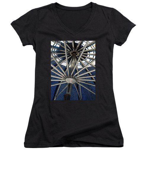 Blue Umbrella Underpinnings Women's V-Neck T-Shirt (Junior Cut) by Kathy Barney