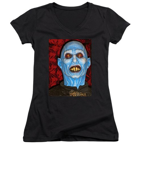 Blue Vampire Women's V-Neck T-Shirt (Junior Cut) by Joan Reese