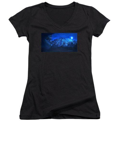 Women's V-Neck T-Shirt (Junior Cut) featuring the painting Blue Village by Joseph Hawkins