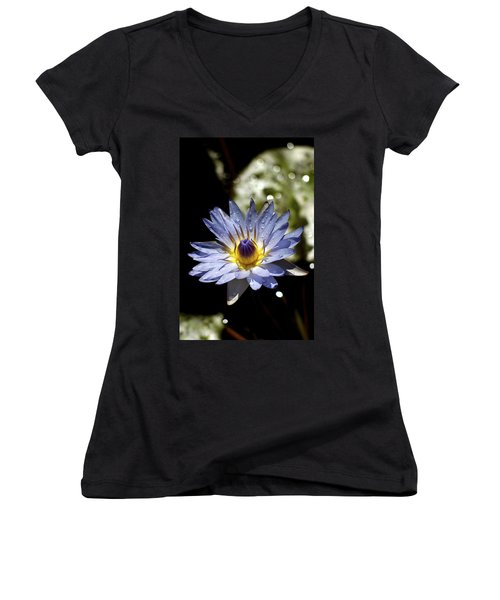 Women's V-Neck T-Shirt (Junior Cut) featuring the photograph Waterlily After The Rain ... by Lehua Pekelo-Stearns