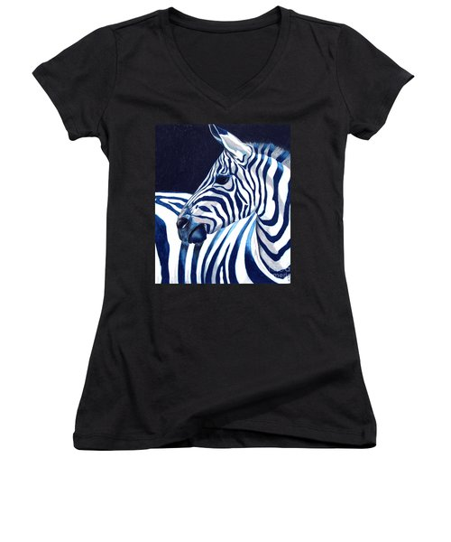 Women's V-Neck T-Shirt (Junior Cut) featuring the painting Blue Zebra by Alison Caltrider