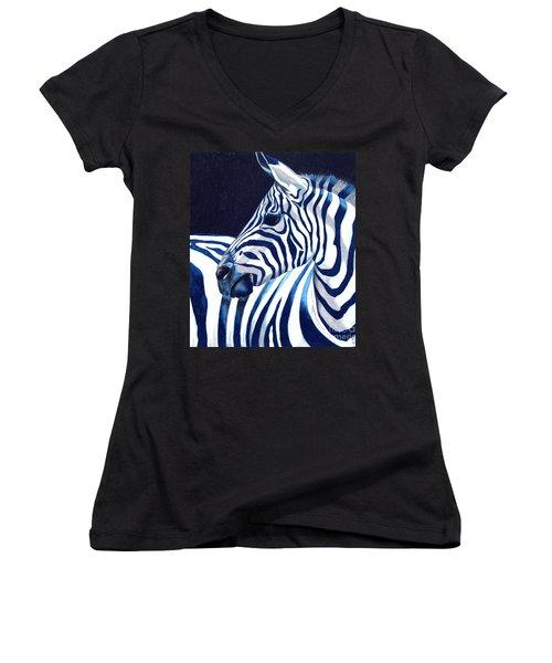 Blue Zebra Women's V-Neck (Athletic Fit)