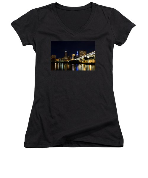 Blues In Cleveland Ohio Women's V-Neck (Athletic Fit)