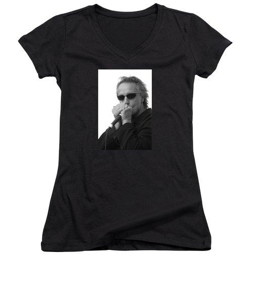 Bluesman James Montgomery Women's V-Neck T-Shirt (Junior Cut) by Mike Martin
