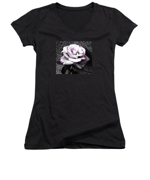 Women's V-Neck T-Shirt (Junior Cut) featuring the photograph Blushing White Rose by Shawna Rowe
