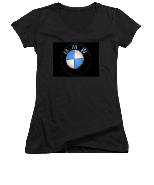 Bmw Emblem Women's V-Neck T-Shirt (Junior Cut) by DigiArt Diaries by Vicky B Fuller