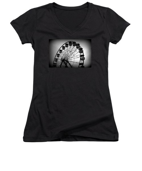 Women's V-Neck T-Shirt (Junior Cut) featuring the photograph Boardwalk Beauty by Laurie Perry