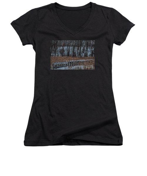 Women's V-Neck T-Shirt (Junior Cut) featuring the photograph Boardwalk Series No2 by Bianca Nadeau