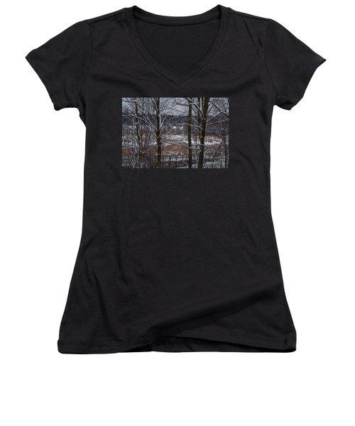 Women's V-Neck T-Shirt (Junior Cut) featuring the photograph Boardwalk Series No3 by Bianca Nadeau