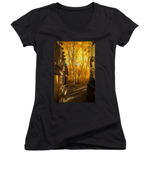 Boat House Among The Autumn Leaves  Women's V-Neck (Athletic Fit)