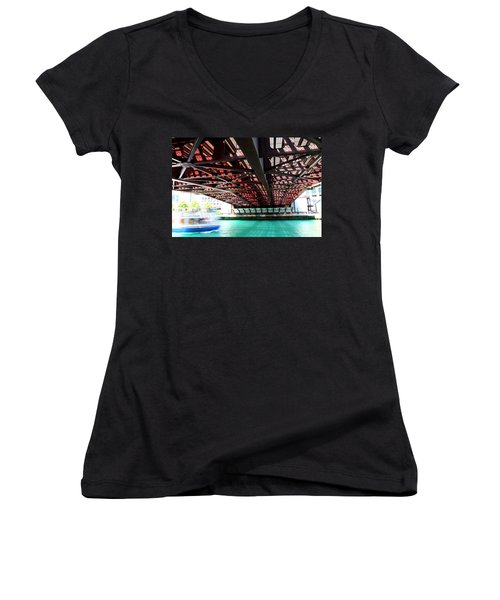 Boat Under Steel Bridge Women's V-Neck