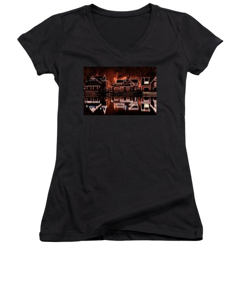 Boathouse Row Reflection Women's V-Neck (Athletic Fit)