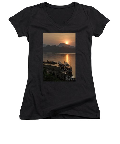 Boats On River By Luang Prabang Laos  Women's V-Neck (Athletic Fit)