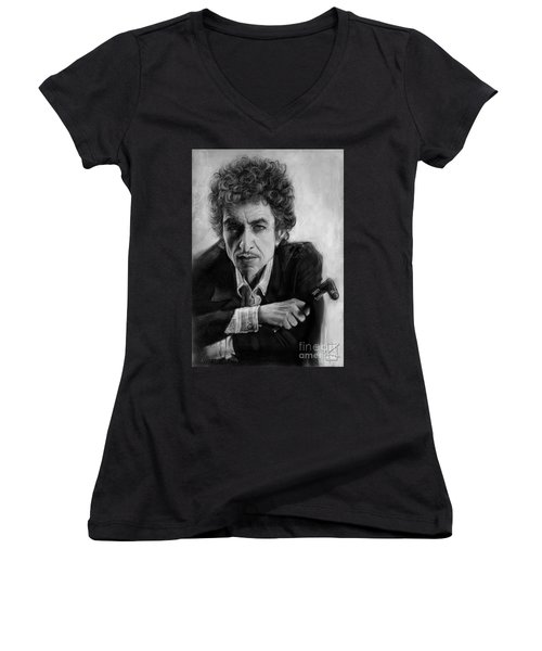 Bob Dylan Women's V-Neck T-Shirt (Junior Cut) by Andre Koekemoer