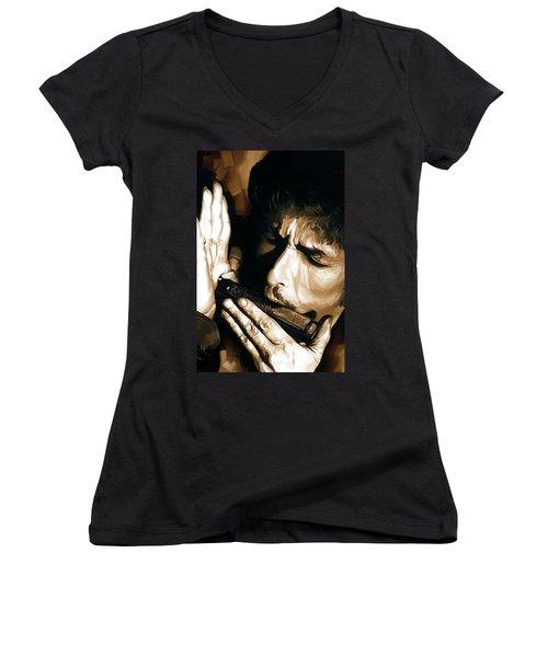Bob Dylan Artwork 2 Women's V-Neck T-Shirt