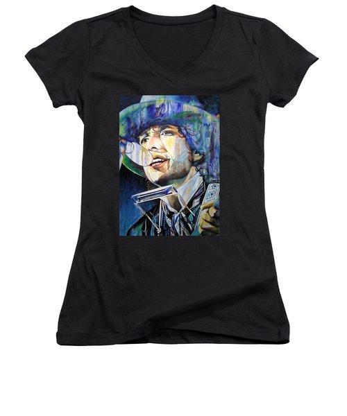 Bob Dylan Tangled Up In Blue Women's V-Neck (Athletic Fit)
