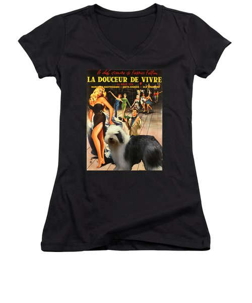Bobtail -  Old English Sheepdog Art Canvas Print - La Dolce Vita Movie Poster Women's V-Neck T-Shirt